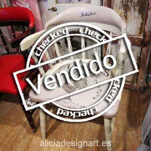 Silla butaca Windsor vintage shabby chic con stencil - Taller decoración de muebles antiguos Madrid estilo Shabby Chic, Provenzal, Rómantico, Nórdico