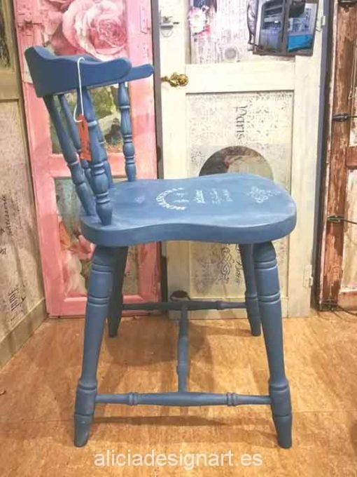 Silla Windsor vintage estilo provenzal azul con stencil - Taller decoración de muebles antiguos Madrid estilo Shabby Chic, Provenzal, Rómantico, Nórdico