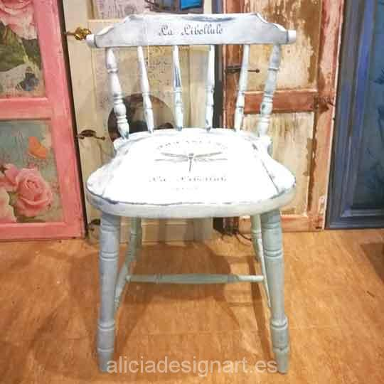 Silla Windsor vintage estilo provenzal blanco con stencil - Taller decoración de muebles antiguos Madrid estilo Shabby Chic, Provenzal, Rómantico, Nórdico