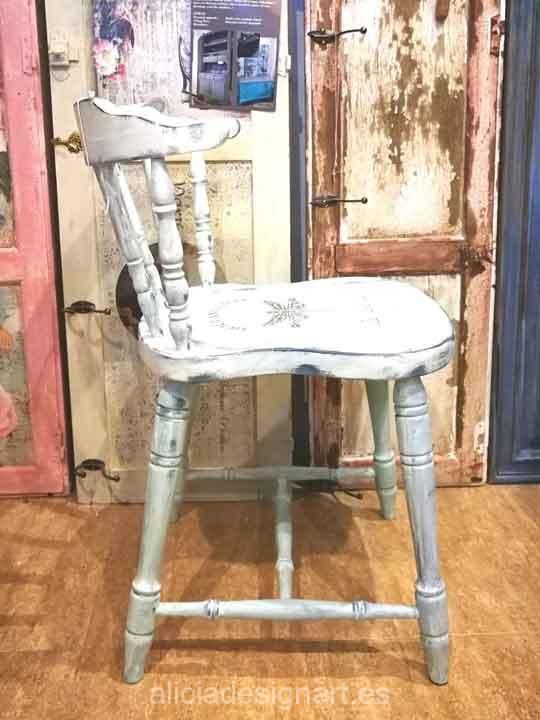 Silla windsor vintage estilo provenzal blanco alicia for Almohadones para sillas windsor