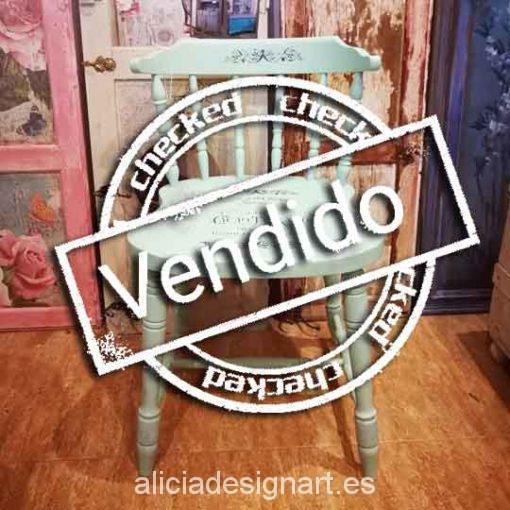 Silla Windsor vintage estilo provenzal verde con stencil - Taller decoración de muebles antiguos Madrid estilo Shabby Chic, Provenzal, Rómantico, Nórdico