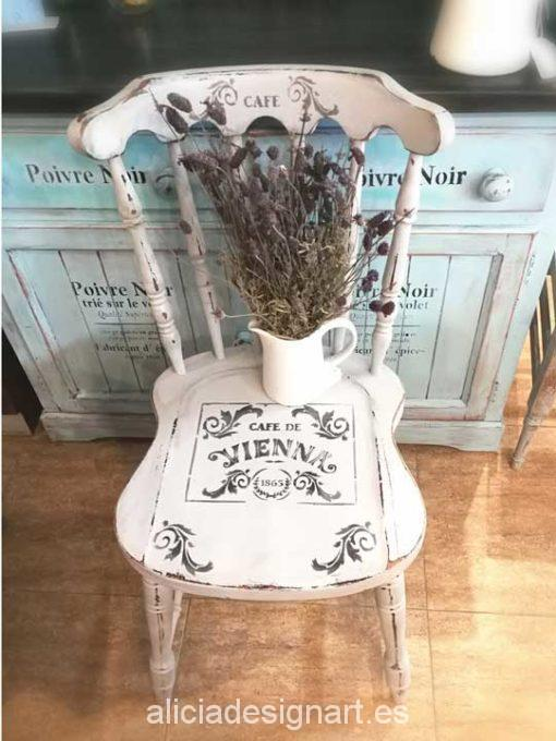 Silla Windsor vintage shabby chic blanco - Taller decoración de muebles antiguos Madrid estilo Shabby Chic, Provenzal, Rómantico, Nórdico