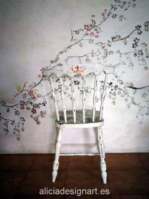 Stencil estarcido XL rama de almendro - Taller decoracíon de muebles antiguos Madrid estilo Shabby Chic, Provenzal, Rómantico, Nórdico