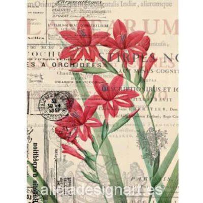 Papel de arroz Flores rojas sobre fondo Vintage de Cadence ref 880056 - Taller decoración de muebles antiguos Madrid estilo Shabby Chic, Provenzal, Rómantico, Nórdico