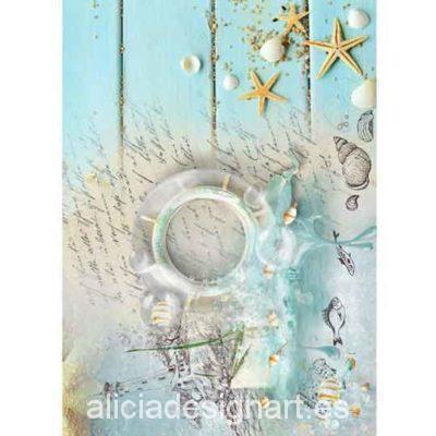 Papel de arroz Marina con estrellas de mar y timón de Cadence ref 880544 - Taller decoración de muebles antiguos Madrid estilo Shabby Chic, Provenzal, Rómantico, Nórdico
