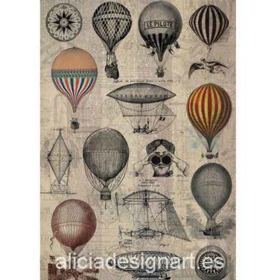 Papel de arroz Globos Aeroestáticos de Cadence ref 888211 - Taller decoración de muebles antiguos Madrid estilo Shabby Chic, Provenzal, Rómantico, Nórdico
