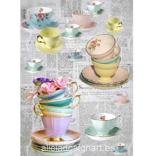 Papel de arroz Tazas de té de Cadence ref 888297 - Taller decoración de muebles antiguos Madrid estilo Shabby Chic, Provenzal, Rómantico, Nórdico