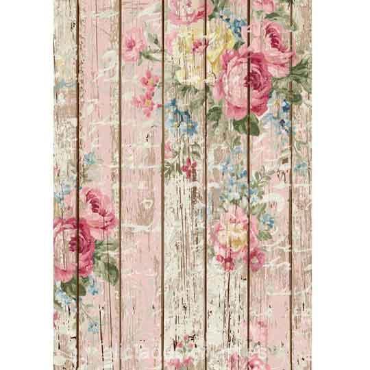 Papel de arroz Rosas sobre madera Shabby Chic de Cadence ref 888386 - Taller decoración de muebles antiguos Madrid estilo Shabby Chic, Provenzal, Rómantico, Nórdico