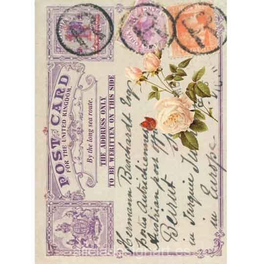 Papel de arroz Tarjeta Postal Vintage de Cadence ref 888415 - Taller decoración de muebles antiguos Madrid estilo Shabby Chic, Provenzal, Rómantico, Nórdico