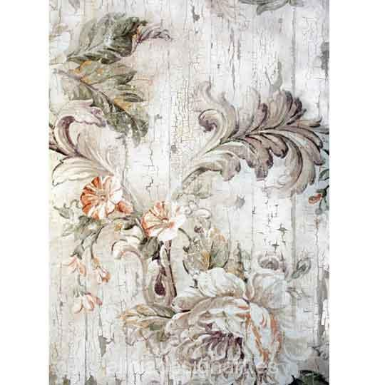 Papel de arroz flores grises pintadas sobre madera Shabby Chic de Cadence ref 888551 - Taller decoración de muebles antiguos Madrid estilo Shabby Chic, Provenzal, Rómantico, Nórdico