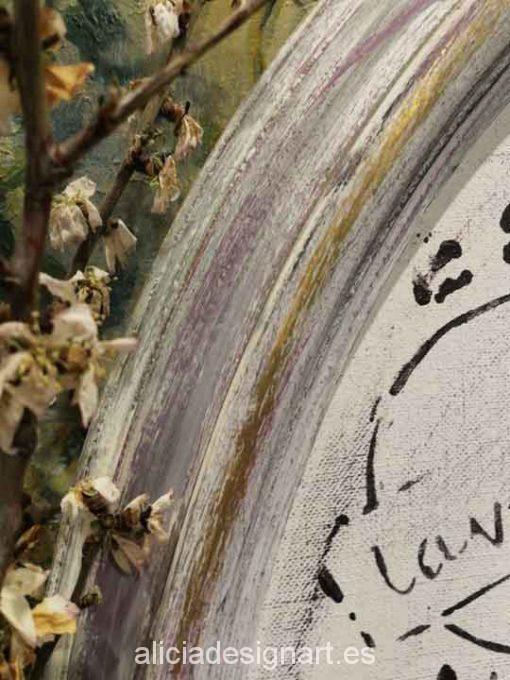 Cuadro ovalado Vintage Lavender sobre marco de madera maciza - Taller decoración de muebles antiguos Madrid estilo Shabby Chic, Provenzal, Rómantico, Nórdico