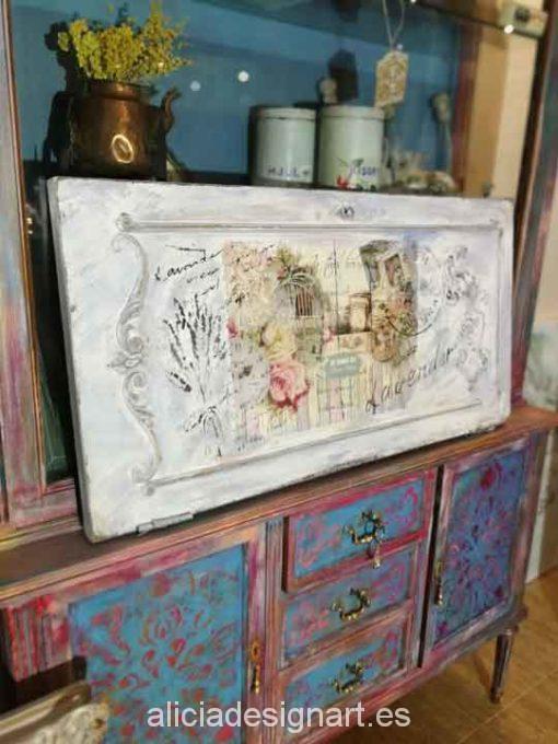 Cuadro Shabby original realizado a mano Lavender por Alicia Dominguez Lopez - Taller decoración de muebles antiguos Madrid estilo Shabby Chic, Provenzal, Rómantico, Nórdico