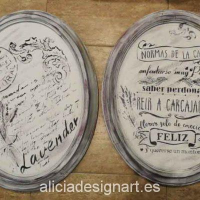 Cuadros ovalados Vintage sobre marcos de madera maciza - Taller decoración de muebles antiguos Madrid estilo Shabby Chic, Provenzal, Rómantico, Nórdico