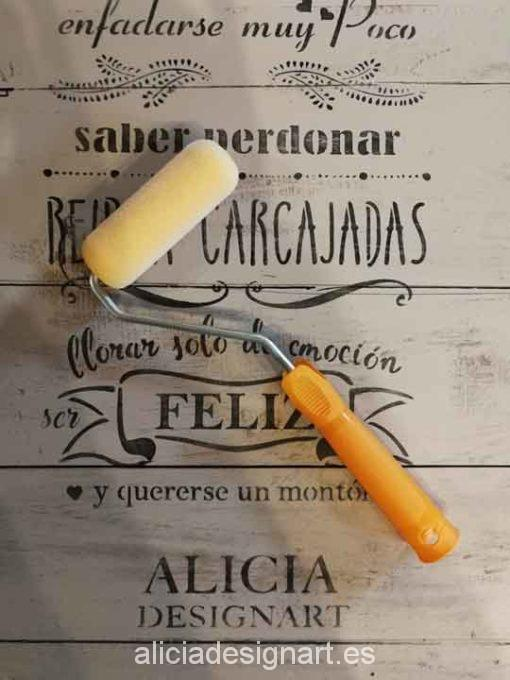 Rodillo de 10 cm para pintar y decorar, con mango - Taller decoración de muebles antiguos Madrid estilo Shabby Chic, Provenzal, Rómantico, Nórdico