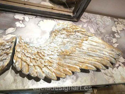 Pack de dos alas de ángel doradas para decorar tus espacios - Taller decoración de muebles antiguos Madrid estilo Shabby Chic, Provenzal, Rómantico, Nórdico