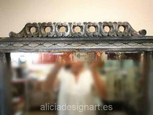 Espejo antiguo art deco decorado estilo Shabby Chic Francés - Taller decoración de muebles antiguos Madrid estilo Shabby Chic, Provenzal, Rómantico, Nórdico