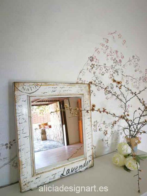 Puerta espejo antigua vintage decorado estilo Shabby Chic Campestre con stencil - Taller decoración de muebles antiguos Madrid estilo Shabby Chic, Provenzal, Rómantico, Nórdico