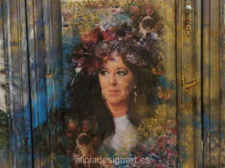 Sara: retrato por encargo, cuadro Boho sobre madera
