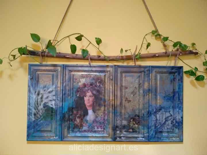 Cuadro hecho por encargo estilo boho sobre madera recuperada - Taller decoración de muebles antiguos Madrid estilo Shabby Chic, Provenzal, Rómantico, Nórdico