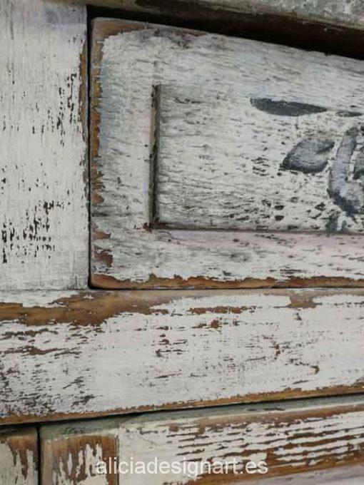 Aparador antiguo de madera maciza decorado estilo Shabby Chic - Taller decoración de muebles antiguos Madrid estilo Shabby Chic, Provenzal, Rómantico, Nórdico