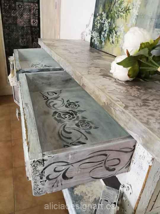 Aparador shabby chic rom ntico blanco con rosas alicia for Muebles romanticos blancos