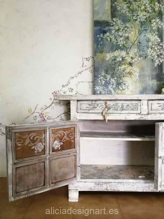 Aparador shabby chic rom ntico blanco con rosas alicia - Muebles antiguos madrid ...