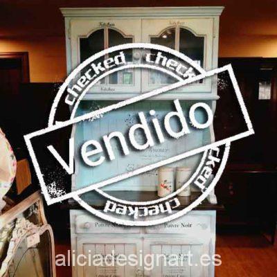 Alacena romántica shabby chic azul - Taller decoración de muebles antiguos Alicia Designart Madrid.