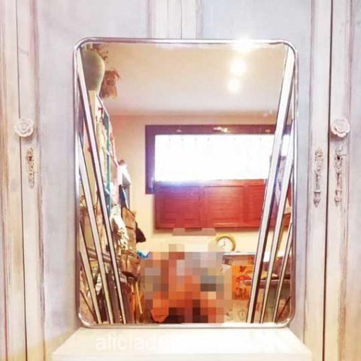 Espejo cromado rectangular antiguo decorado estilo Art Déco - Taller decoración de muebles antiguos Madrid estilo Shabby Chic, Provenzal, Rómantico, Nórdico, muebles de color