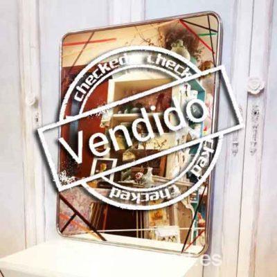 Espejo cromado rectangular antiguo decorado estilo Art Déco geométrico - Taller decoración de muebles antiguos Madrid estilo Shabby Chic, Provenzal, Rómantico, Nórdico, muebles de color