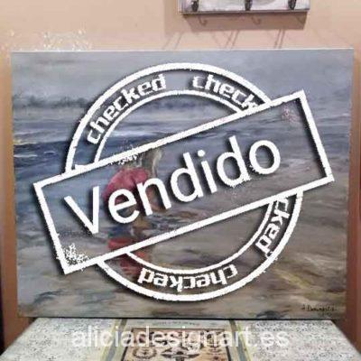Niña en la playa, cuadro original, pintado a mano por Alicia Dominguez Lopez - Taller decoración de muebles antiguos Madrid estilo Shabby Chic, Provenzal, Rómantico, Nórdico