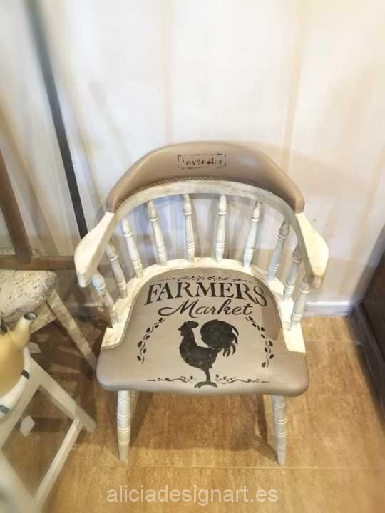 Silla butaca Windsor vintage shabby chic con stencil Farmer - Taller decoración de muebles antiguos Madrid estilo Shabby Chic, Provenzal, Rómantico, Nórdico