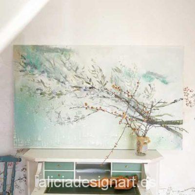 Zen floral, cuadro original, pintado a mano por Alicia Dominguez Lopez - Taller decoración de muebles antiguos Madrid estilo Shabby Chic, Provenzal, Rómantico, Nórdico