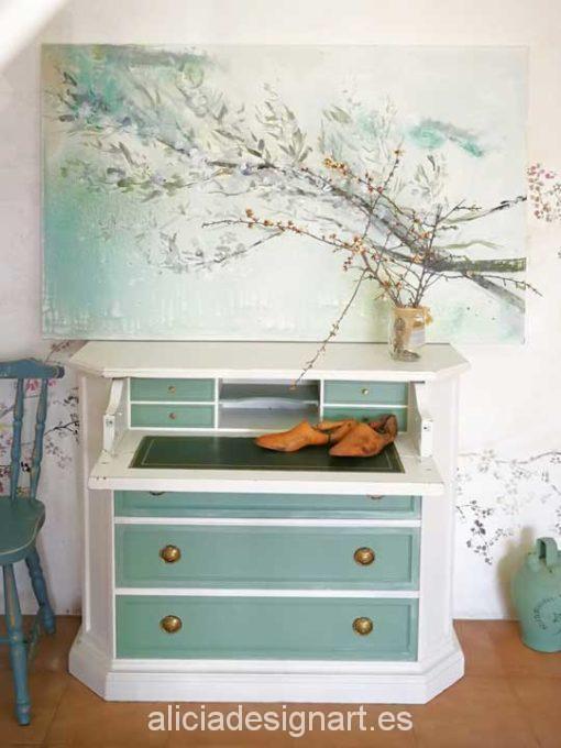 Zen floral, cuadro original, pintado a mano por Alicia Dominguez Lopez - Taller decoración de muebles antiguos Madrid estilo Shabby Chic, Provenzal, Romántico, Nórdico