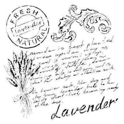 Plantilla de stencil estarcido XL Lavender- Taller decoración de muebles antiguos Madrid estilo Shabby Chic, Provenzal, Rómantico, Nórdico
