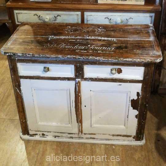 Aparador antiguo decorado estilo francés campestre rústico - Taller decoración de muebles antiguos Alicia Designart Madrid.