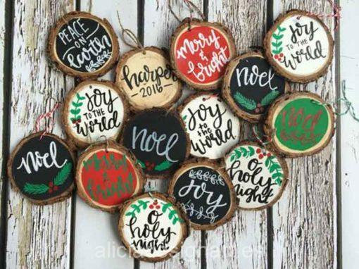 Curso para aprender a decorar adornos navideños de madera - Tienda de productos de decoración en Madrid. Plantillas de stencil, papel decoupage, pintura decoración, Shalk Paint, accesorios