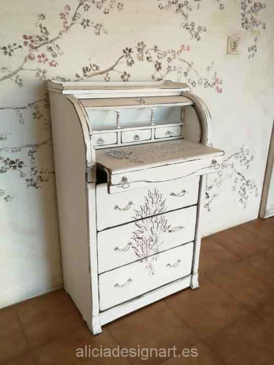 Bureau escritorio estilo Shabby Chic blanco decorado con stencils - Taller de decoración de muebles antiguos Madrid. Muebles de colores, productos y cursos.