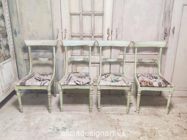 Silla vintage decorada estilo Shabby en verde y tapizada con tela cactus - Taller de decoración de muebles antiguos Madrid estilo Shabby Chic, Provenzal, Romántico, Nórdico