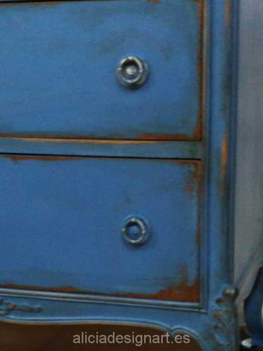 Sinfonier antiguo de 7 cajones decorado color azul vintage - Taller de decoración de muebles antiguos Madrid. Muebles de colores, productos y cursos.