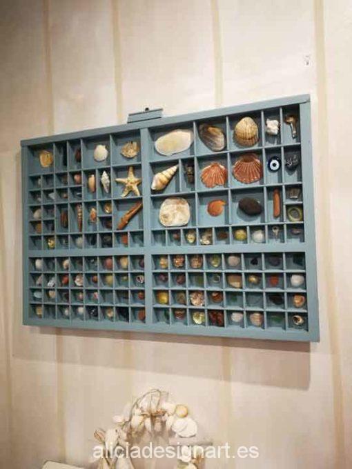 Cajón de chibalete de madera maciza decorado con motivos marinos- Taller decoracíon de muebles antiguos Madrid estilo Shabby Chic, Provenzal, Rómantico, Nórdico