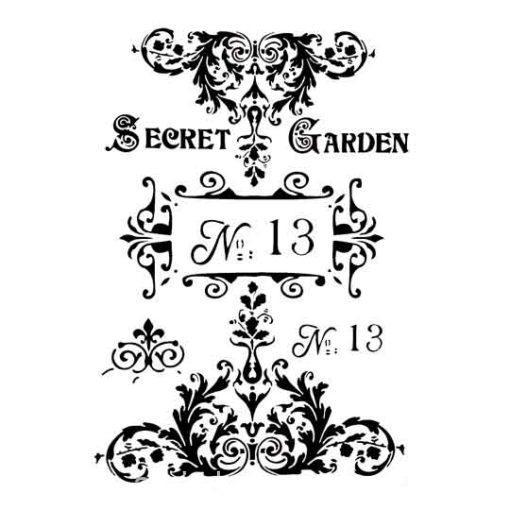 Plantilla de stencil estarcido A4 Secret Garden - Taller decoración de muebles antiguos Madrid estilo Shabby Chic, Provenzal, Rómantico, Nórdico