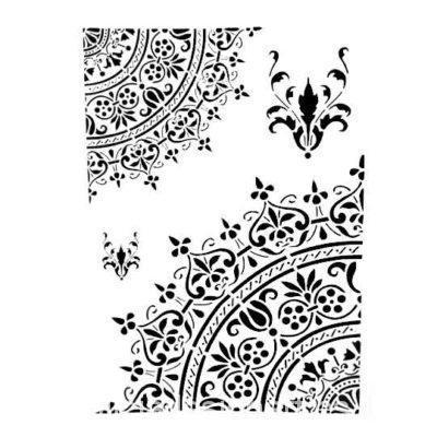 Plantilla de stencil estarcido A4 Adamascados - Taller decoración de muebles antiguos Madrid estilo Shabby Chic, Provenzal, Rómantico, Nórdico
