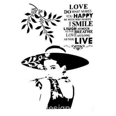 Plantilla de stencil estarcido A4 Audrey - Taller decoración de muebles antiguos Madrid estilo Shabby Chic, Provenzal, Rómantico, Nórdico