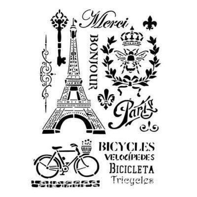 Plantilla de stencil estarcido A4 Paris Shabby Chic - Taller decoración de muebles antiguos Madrid estilo Shabby Chic, Provenzal, Rómantico, Nórdico
