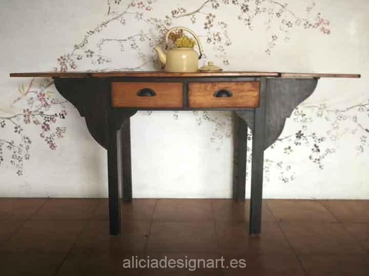 Mesa de cocina antigua estilo rústica con dos cajones | Alicia Designart