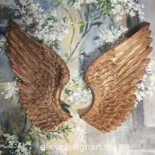 Pack de dos alas de ángel doradas para decorar tus espacios - Taller decoración de muebles antiguos Madrid estilo Shabby Chic, Provenzal, Romántico, Nórdico