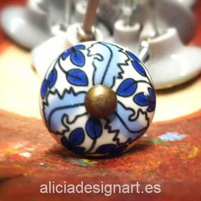 Tirador redondo de cerámica azul y blanca Boho Chic - Taller decoración de muebles antiguos Madrid estilo Shabby Chic, Provenzal, Romántico, Nórdico