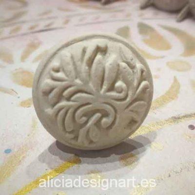 Tirador redondo de piedra blanca y relieve flora estilo Shabby Chic - Taller decoración de muebles antiguos Madrid estilo Shabby Chic, Provenzal, Romántico, Nórdico
