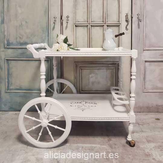 Ejemplo de carrito bar decorado con la pintura Cadence Hybrid H002 blanco puro - Decoración de muebles antiguos estilo Shabby Chic, Provenzal, Romántico, Nórdico