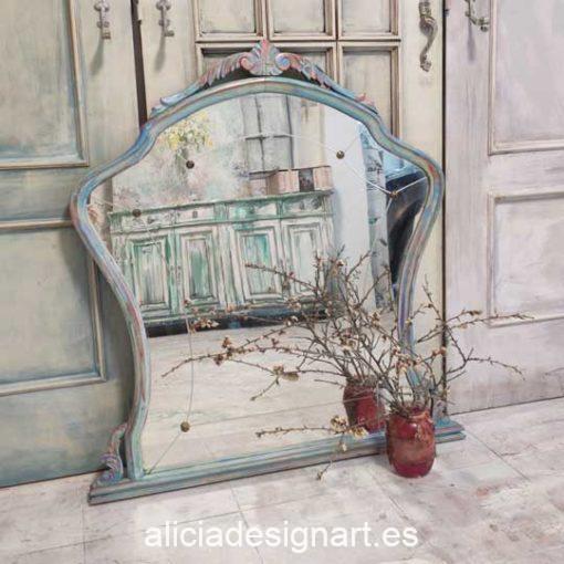Espejo antiguo de madera maciza decorada fusión Boho Shabby con cristal biselado - Taller de decoración de muebles antiguos Madrid. Muebles de colores, productos y cursos.